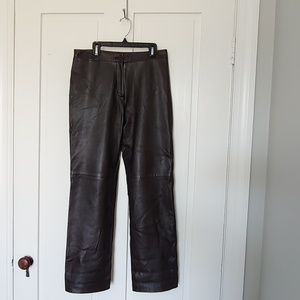 BCBG MAX AZRIA brown genuine leather pants